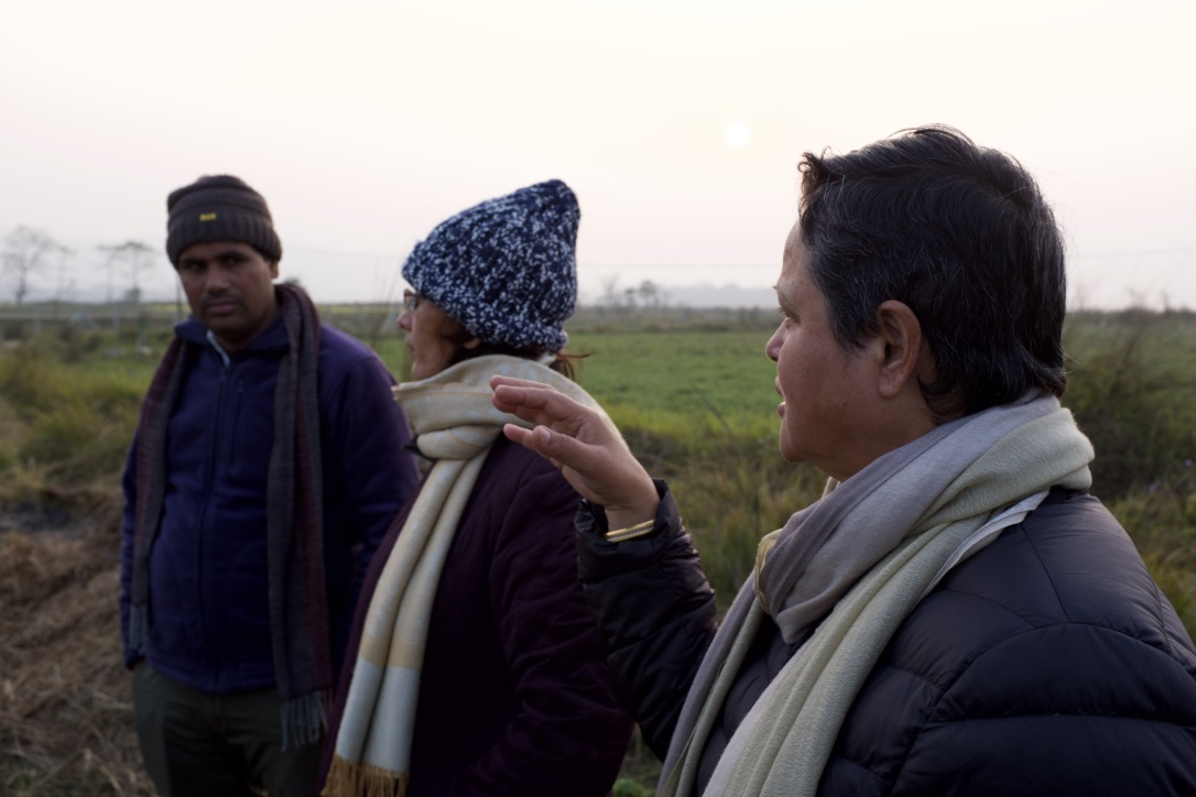 Rita Thapa and Susan Risal inconversation with Govinda Prasad Acharya during the site inspection.